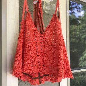 Free People knit bright orange and khaki tank top